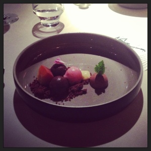 Dessert - flavoured sorbets and chocolate